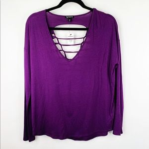 NWT Express Purple Back Cut Out Long Sleeve Top